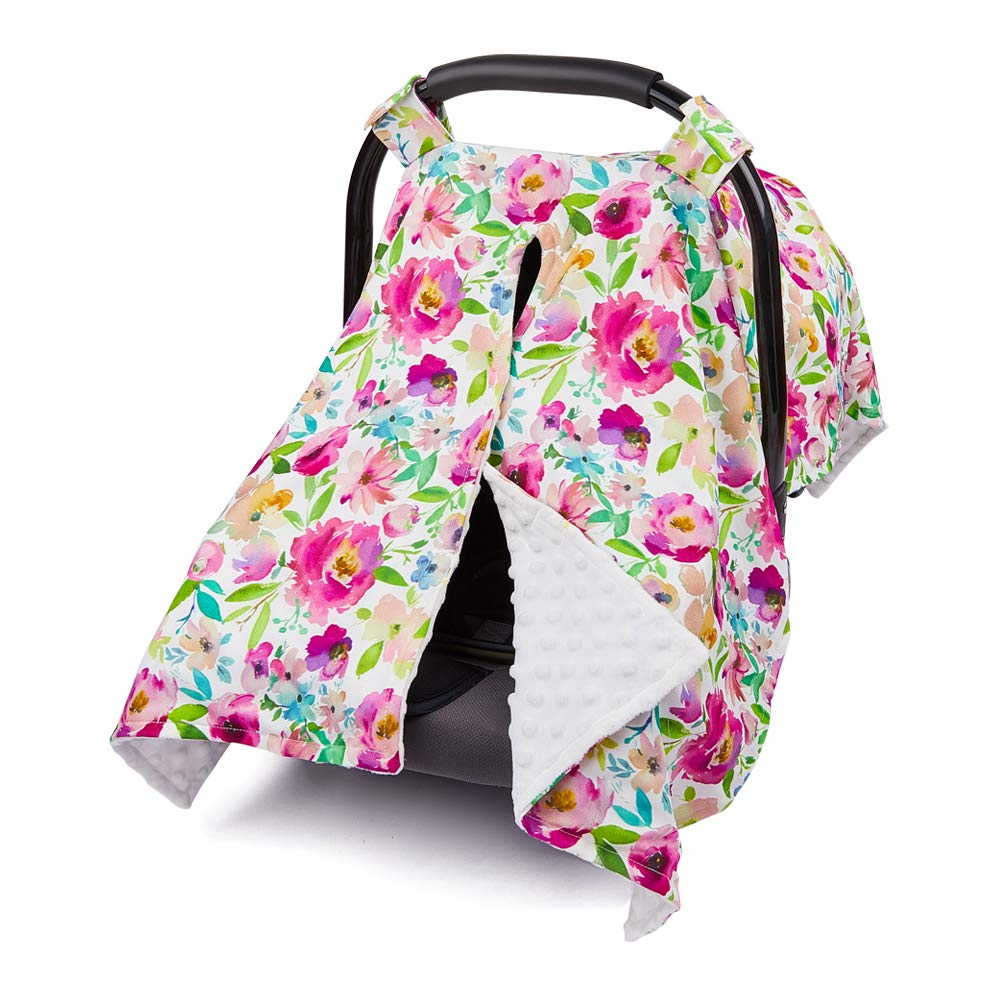 MHJY Carseat Canopy Cover Nursing Cover Breathable Cotton Infant Car Seat Canopy Carseat Cover Nursing Scarf for Boy Girl Baby Shower,Floral-Fuchsia