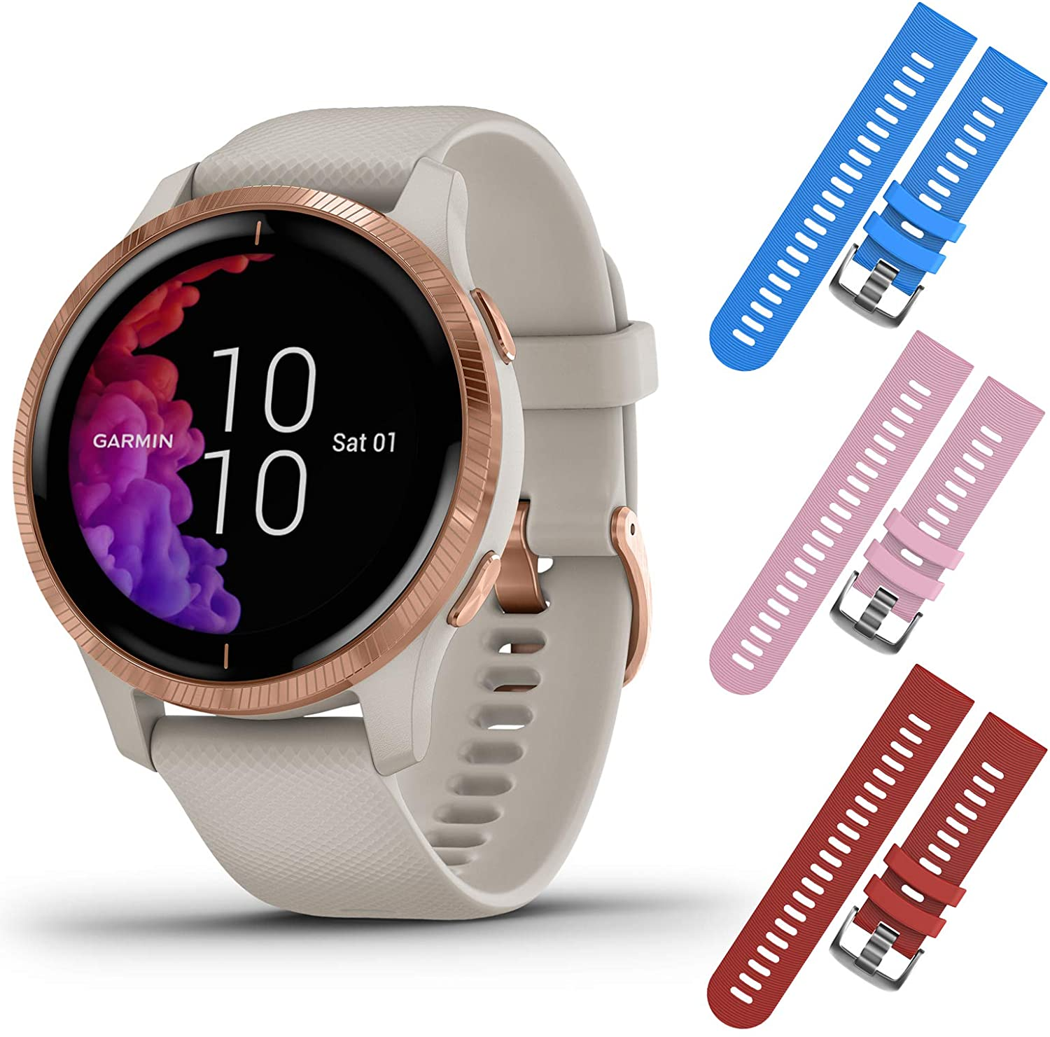 Garmin Venu GPS Smartwatch with AMOLED Display and Included Wearable4U 3 Straps Bundle (Light Sand/Rose Gold, Blue/Pink/Red)