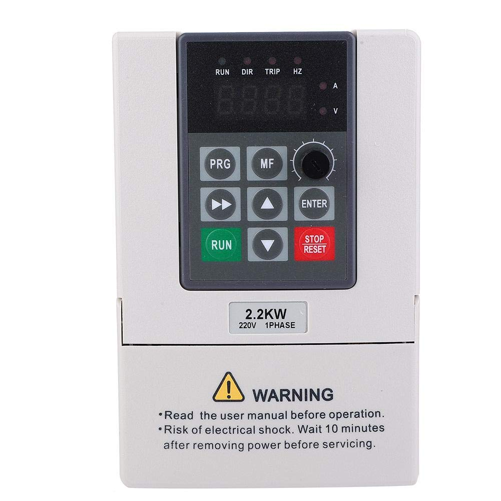 Single Phase VFD Drive VFD Inverter Variable Frequency Drive PWM VFD Controller 2.2KW AC220V 23A for 3-Phase Spindle Motor(VFD-2.2KW)