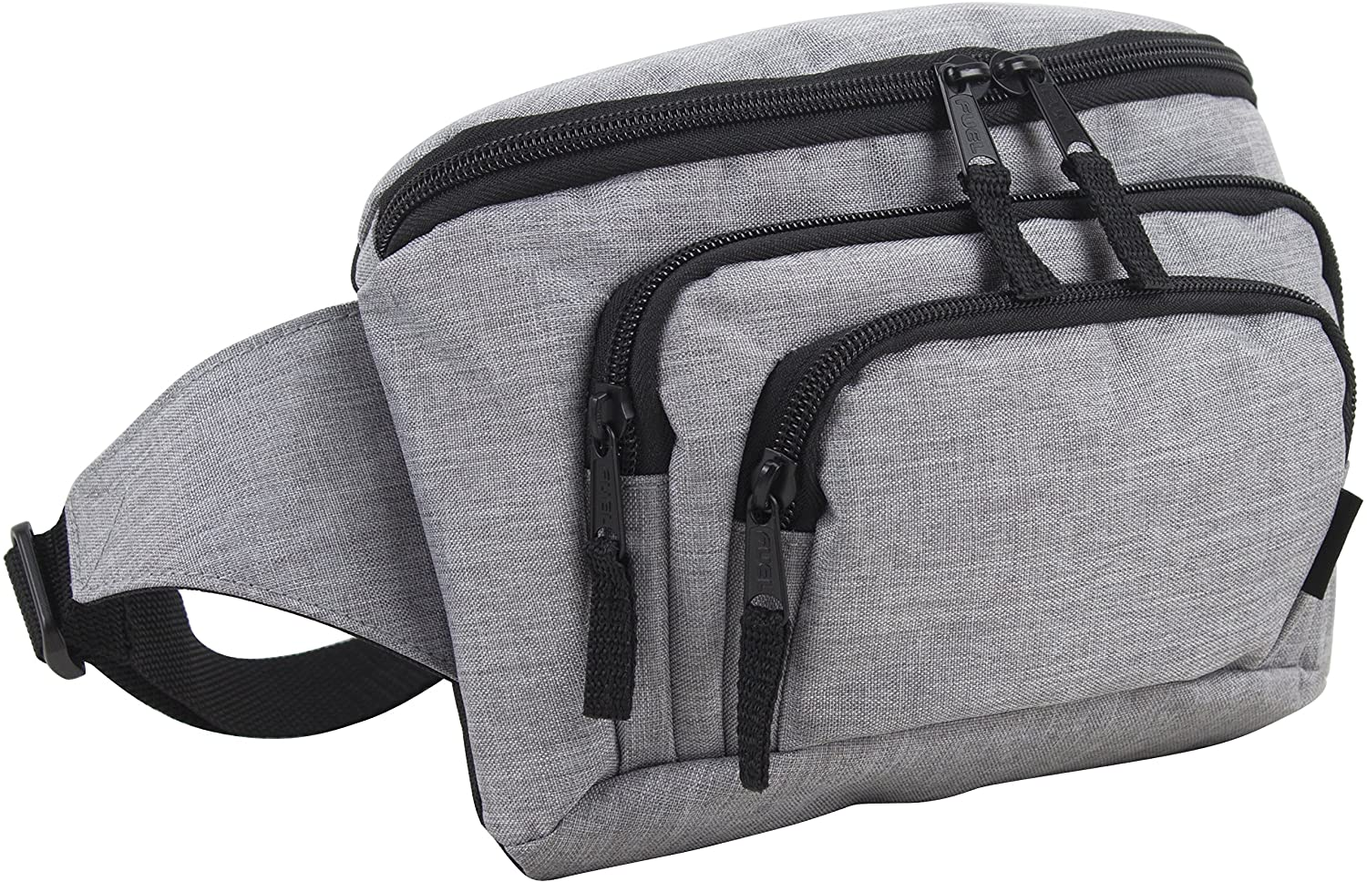 Fuel Signature Triple Pocket High Capacity Belt Bag, Fanny Pack (Expandability Min. 34 In - Max. 48 In) - Gray Chambray