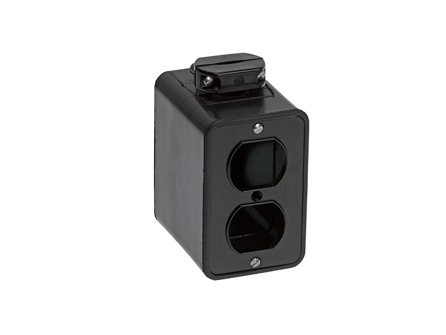 Woodhead 3000BLK Super-Safeway Multiple Outlet Box - Black, Double Sided Mounting Box with Standard Depth, C-Clamp, Duplex Cover Plates