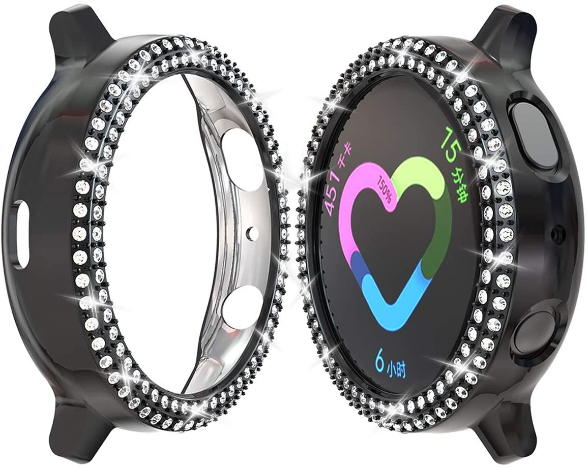 JZK Samsung Galaxy Watch Active 2 44mm PC Diamond Case,Bling Crystal Shiny Rhinestone Plated Protective Bumper Shell PC Protective Cover for Samsung Galaxy Watch Active 2 44mm Accessories