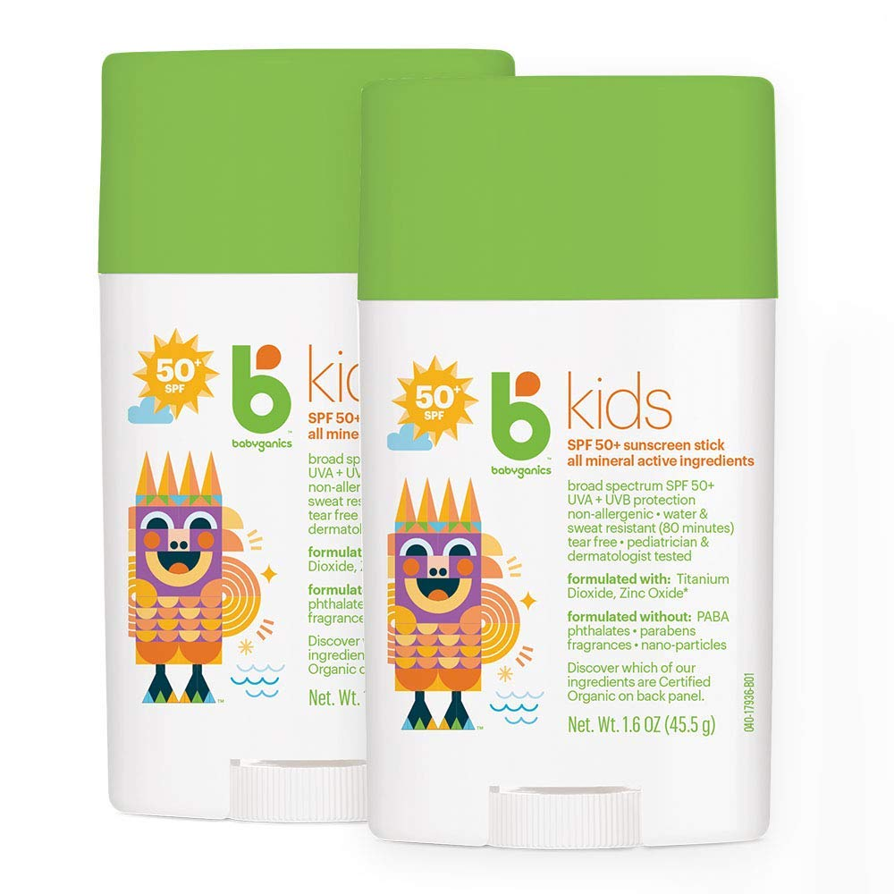 Babyganics Kids Travel Size Sunscreen Stick 50 SPF , 2 Pack, Packaging May Vary
