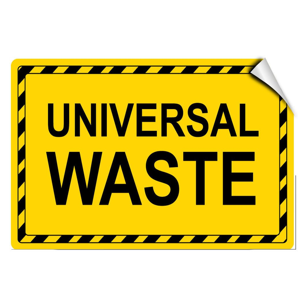 Universal Waste Hazard Hazardous Waste LABEL DECAL STICKER Sticks to Any Surface