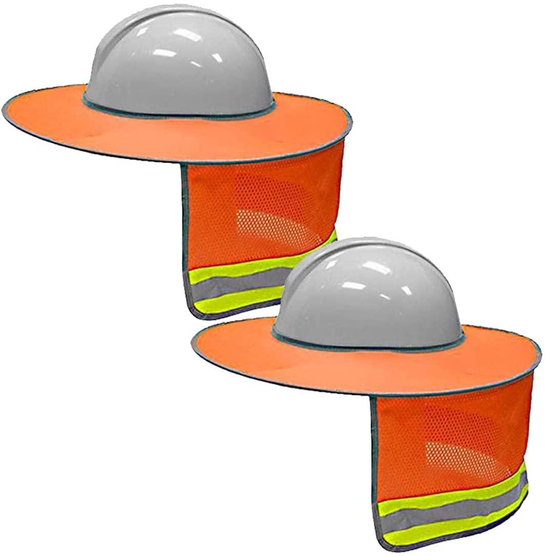 Hard Hat Sun Shield,Hat Sun Neck Shield Full Brim Sunshade,MVORVTC Sun Protection Mesh Neck,for Hardhats,High Visibility,Reflective (Orange 2PCS)