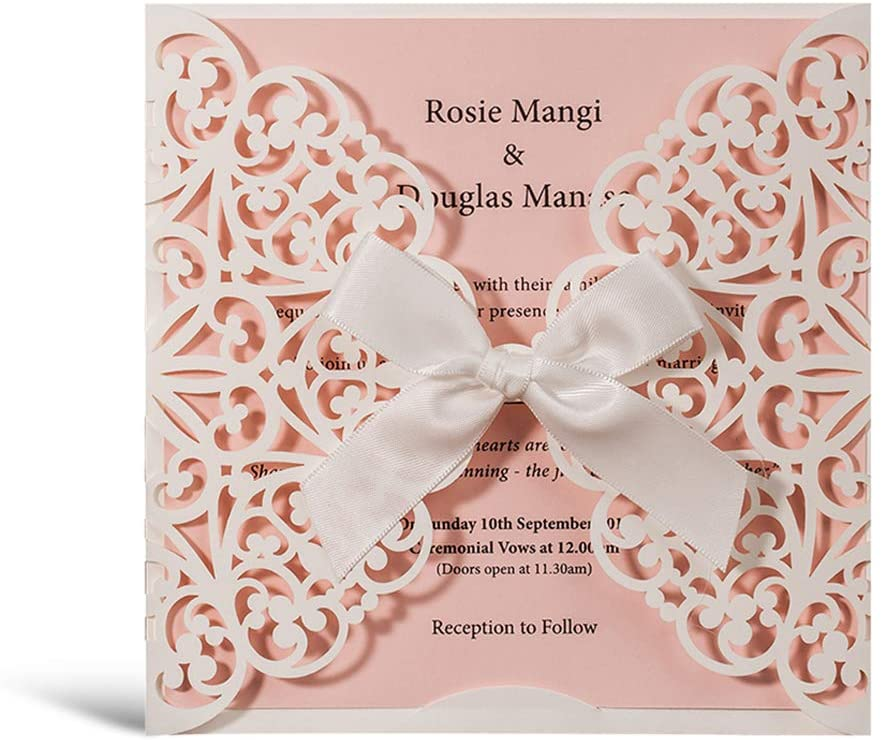 WISHMADE 50Pcs White Square Laser Cut Wedding Invitations with Pink Insert and Handmade Ribbon Lace Bowknot, for Girls Quincenera Paraboda Birthday Party