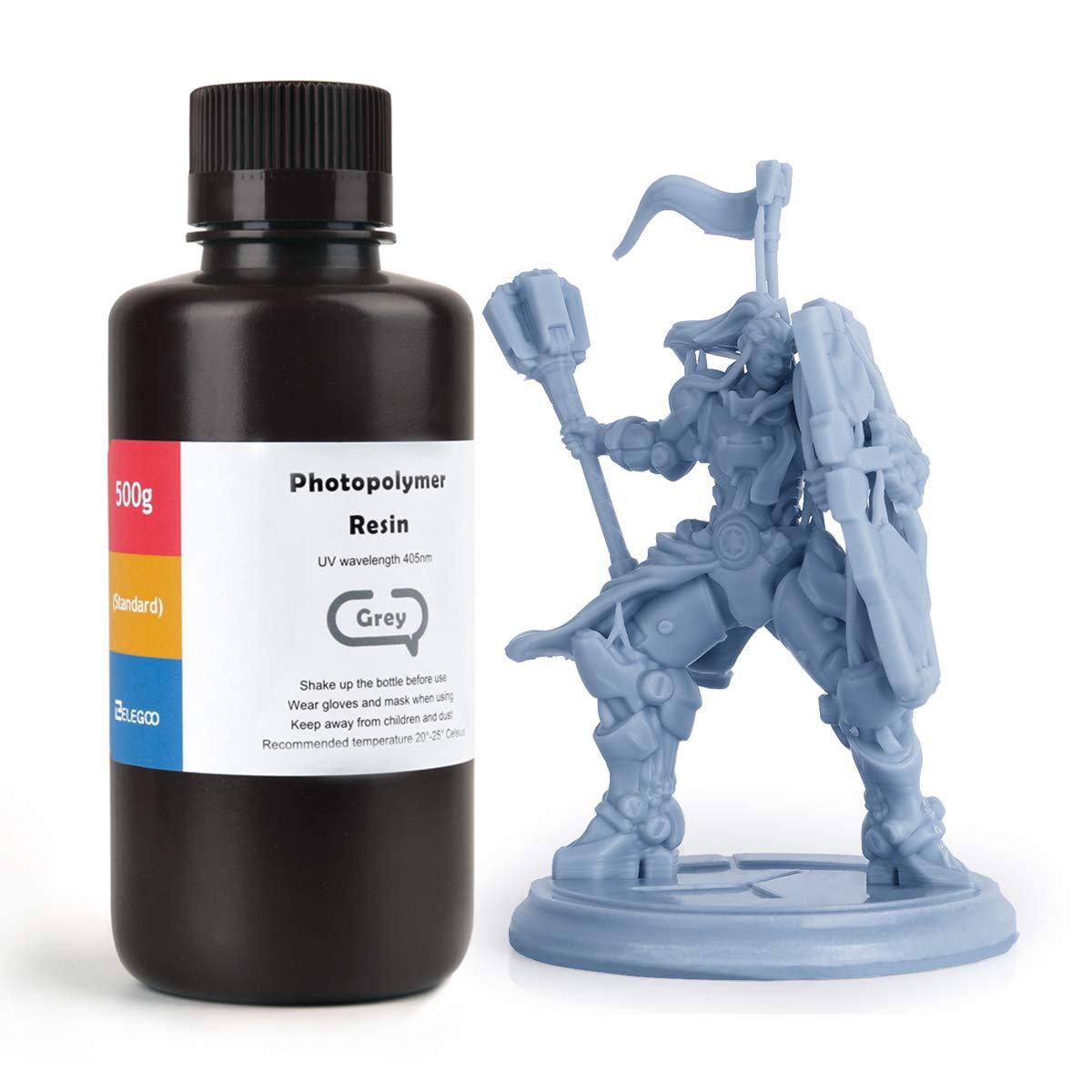 ELEGOO ABS-Like 3D Rapid Resin LCD UV-Curing Resin 405nm Standard Photopolymer Resin for LCD 3D Printing Grey 500g