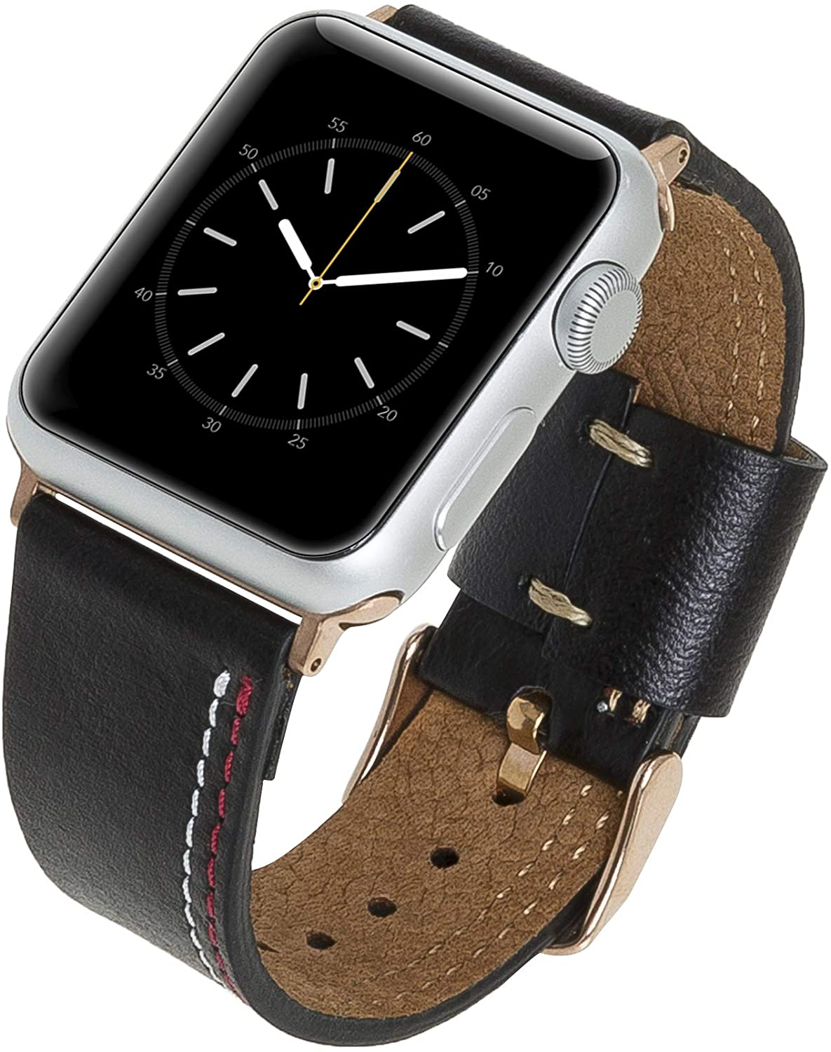 Venito Forio Handmade Premium Leather Watch Band Compatible with The Newest Apple Watch iwatch Series 5 as Well as Series 1, 2, 3, 4 (Rustic Black w/Rose Gold Stainless Steel Hardware, 42mm-44mm)