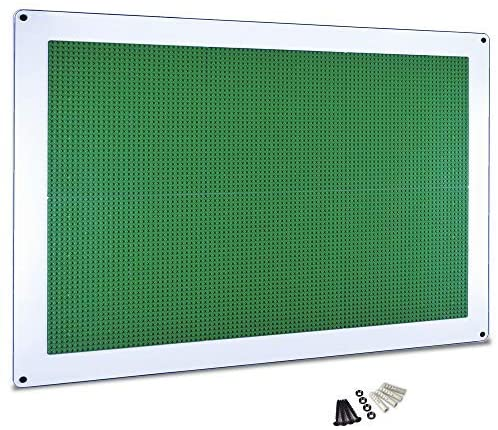 Creative QT Play-Up Wall Panel - Large Building Brick Play Wall - Pre-Assembled - Compatible with All Major Brands of Interlocking Blocks - Vertical Building Surface - Green - 24 inch x 34 inch