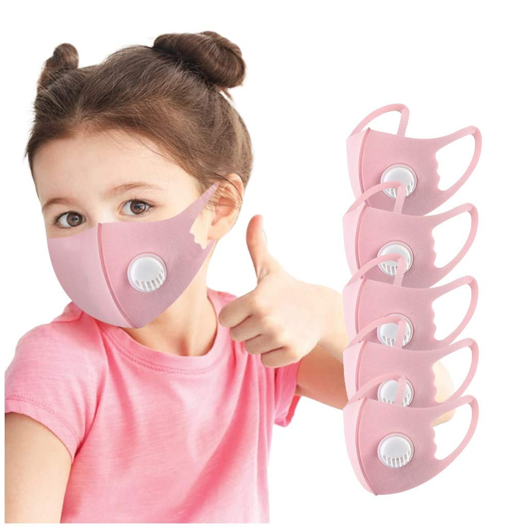 【USA In Stock 】5PCS Children Kids Face Bandana_Covering_MASK Face Bandanas Breathable Face Protection Filters for School Kids Outdoor, Solid Color Boys Girls Toddler Dustproof Washable Face Fabric (Pink)