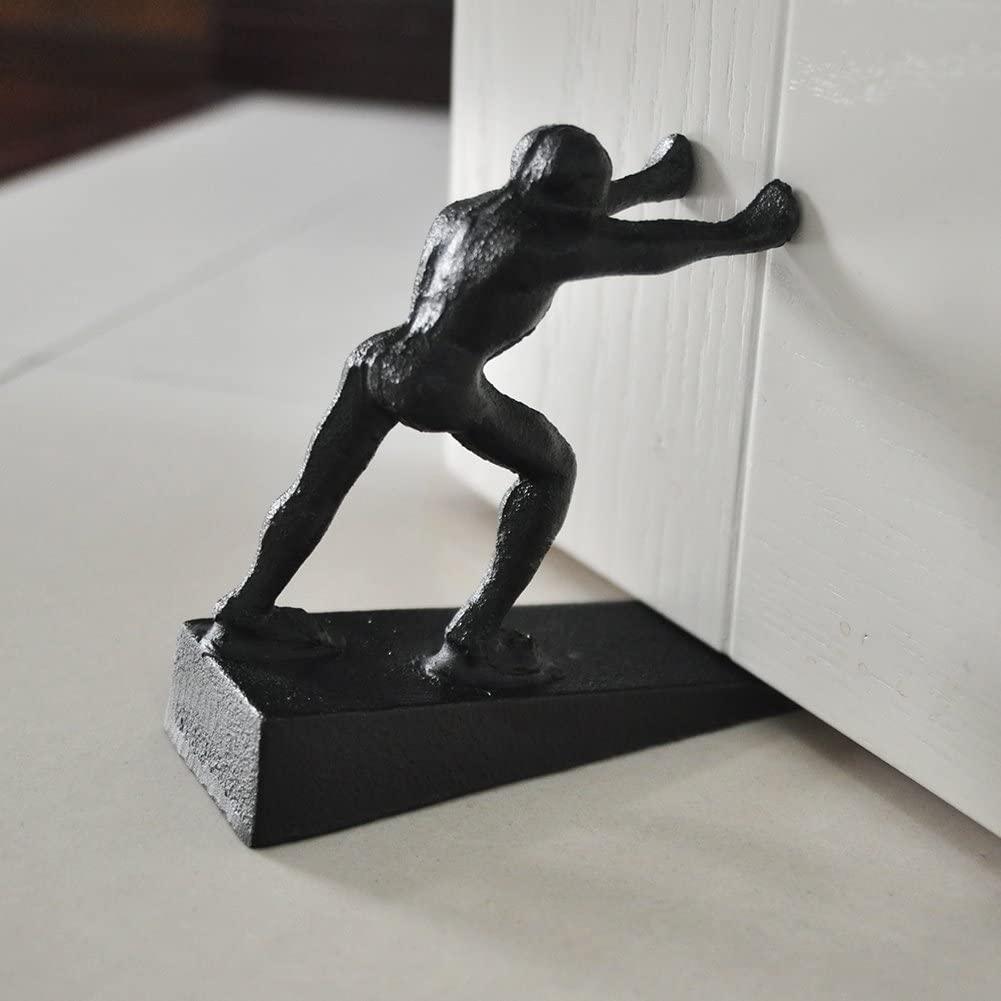 Cast Iron Door Stop - Decorative Rustic Door Stopper - Stop Your Bedroom, Bath and Exterior Doors ,6.1x5.1(Strong Man) Black
