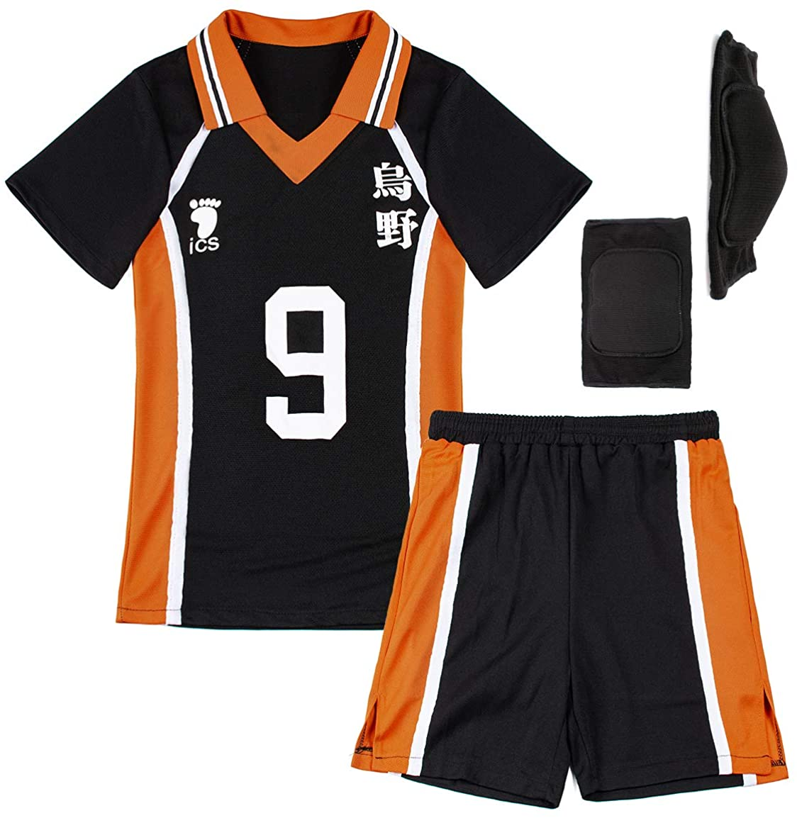 Haikyuu Cosplay Costume Mesh Sportswear Uniform Karasuno Knee Pads Set