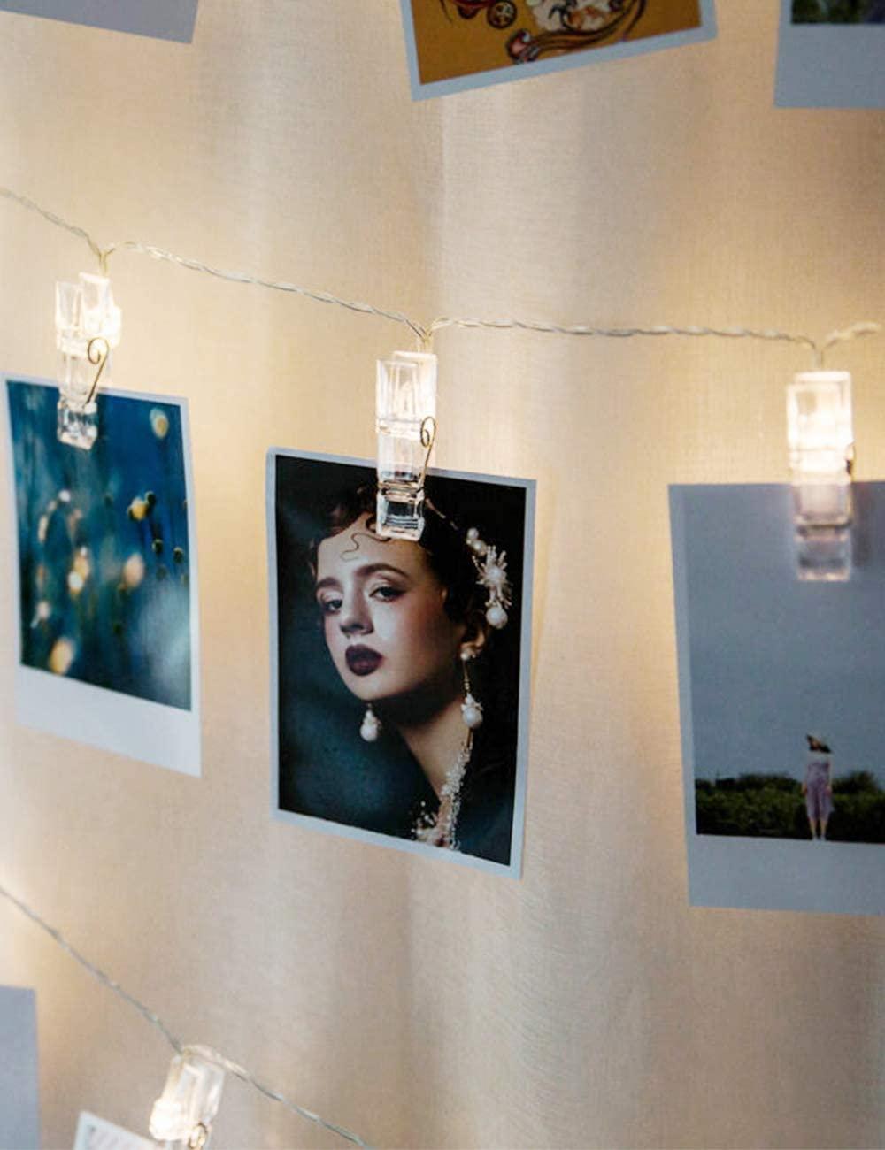 Holiday Lights Warm White LED Photo Clip Light String-9.84 ft 20 LED Flash Proposal Lighting Birthday Decoration Lamp Life Photo Art Photo Hanging Light Clip