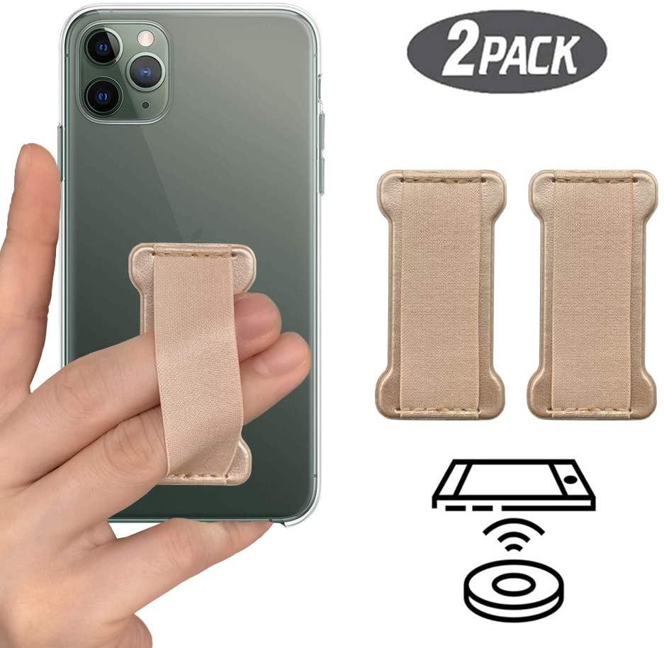 [2PC] WUOJI Finger Strap Phone Holder - Ultra Thin Anti-Slip Universal Cell Phone Grips Band Holder for Back of Phone(Gold)