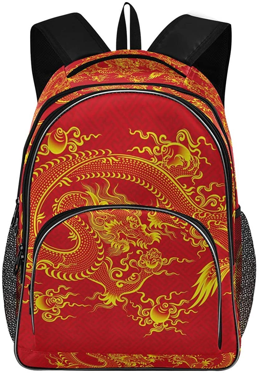 Red Chinese Dragon Backpack for Students Unisex School Bag Laptop Bag College School Bookbag Backpack(901d)