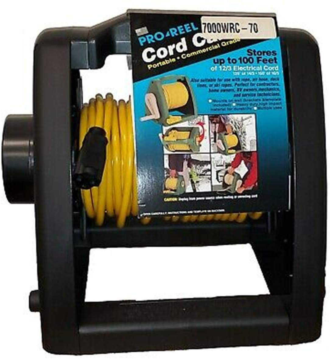 Manual Wind-Up Cord Storage Reel with 70 Ft 16/3 Cord Alert Stamping 7000WRC-70