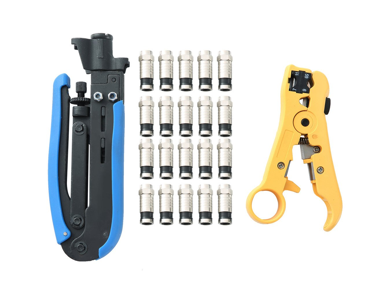 FLK Tech Compression Tool Coax Cable Crimping Kit with 20 F Compression Connectors