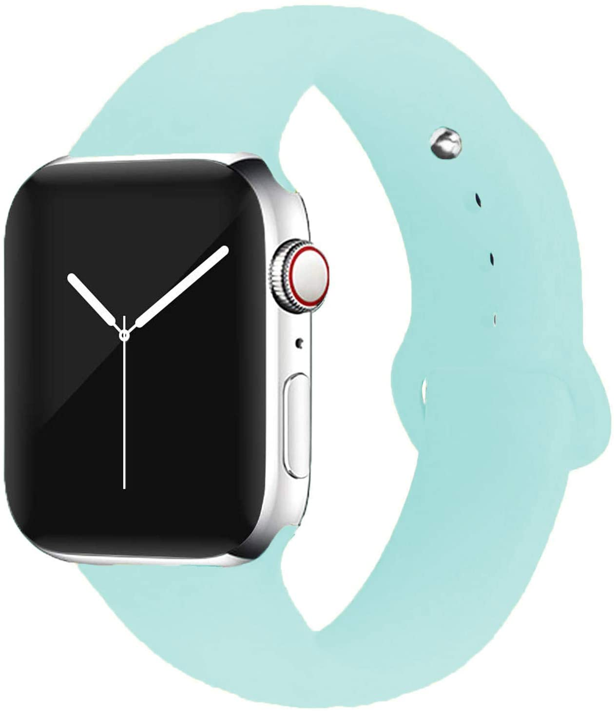 Odoan Band Compatible with Apple Watch, Soft Silicone Strap Wrist Replacement Band for Watch Series 5/4/3/2/1 (Transparent Mint Green, 42/44mm Medium/Large)