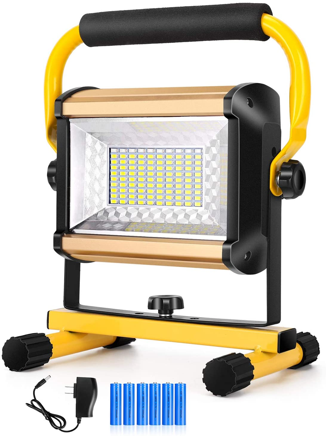 DOZAWA 100W Rechargeable LED Work Light,Super Bright IP65 Waterproof Flood Lights Portable Work Lights with Stand for Camping Garage Workshop Construction Site Repairing Job Site Light
