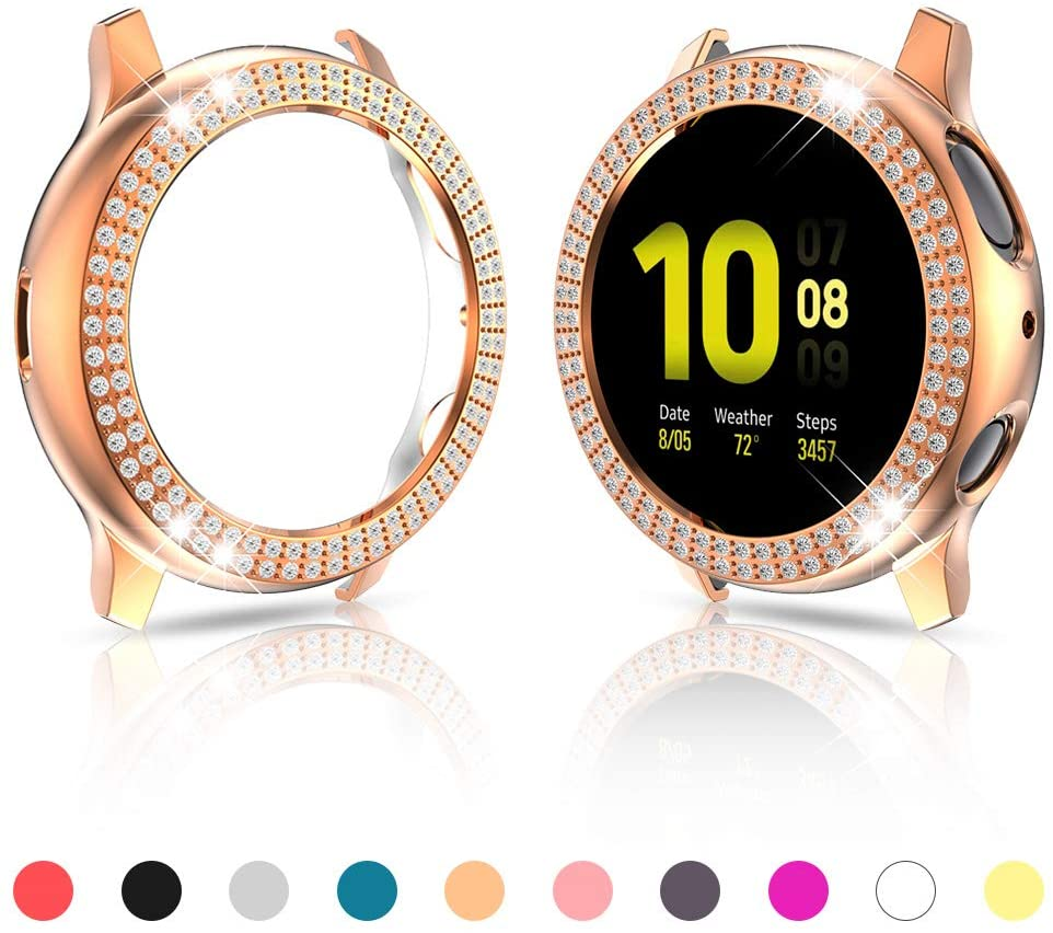Protector Case Compatible with Samsung Galaxy Watch Active 2 44mm Cover, Double Row Bling Crystal Diamond Rhinestone Bumper PC Frame Accessories (Rose Gold, Active 2 44mm)