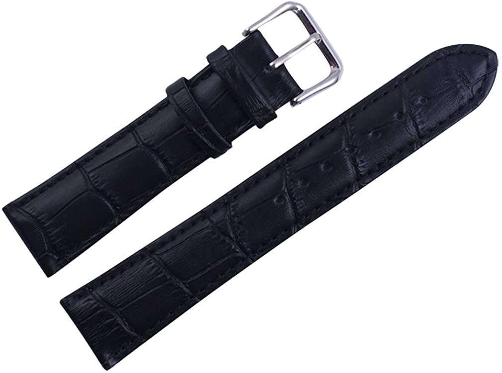 Uyoung 16mm Women's Genuine Leather Crocodile Grain Black Watch Band