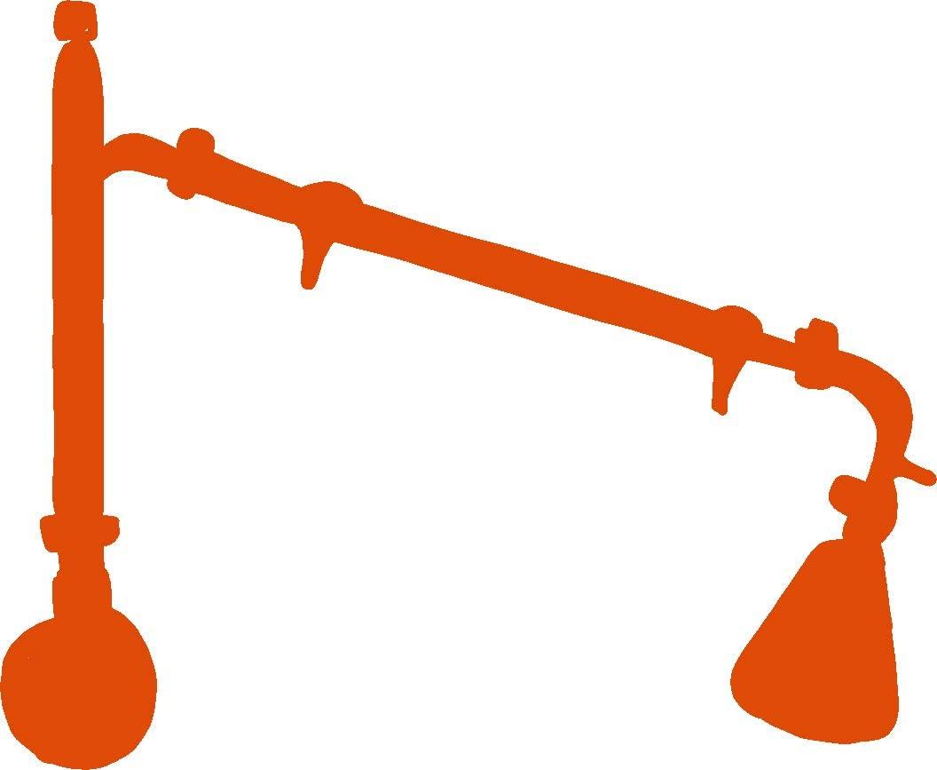 hBARSCI Distillation Apparatus Vinyl Decal - 11 Inches - for Walls, Windows, Doors, Vehicles, Outdoor-Grade 2.5mil Thick Vinyl - Orange