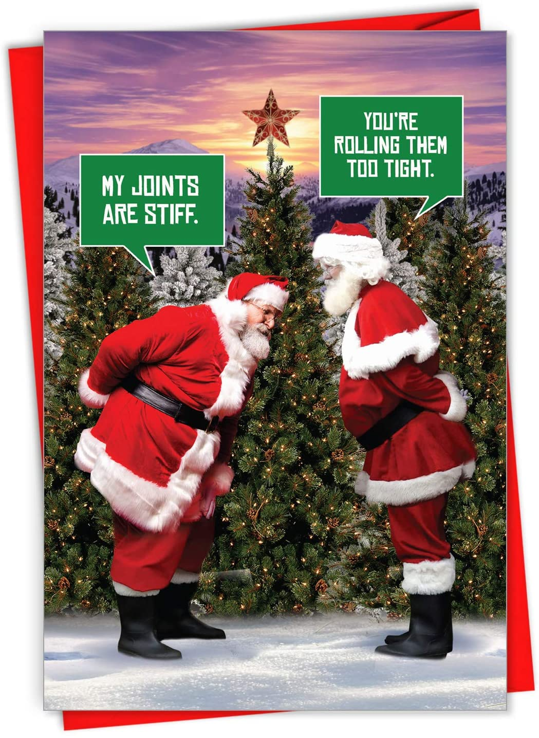Santa Stiff Joints - Box of 12 Funny Merry Christmas Cards with Envelopes (4.63 x 6.75 inch) - Smoking Santa Claus, Holiday Joke Card for Adult Smokers - Xmas Stationery Gift Set C7037XSG-B12x1