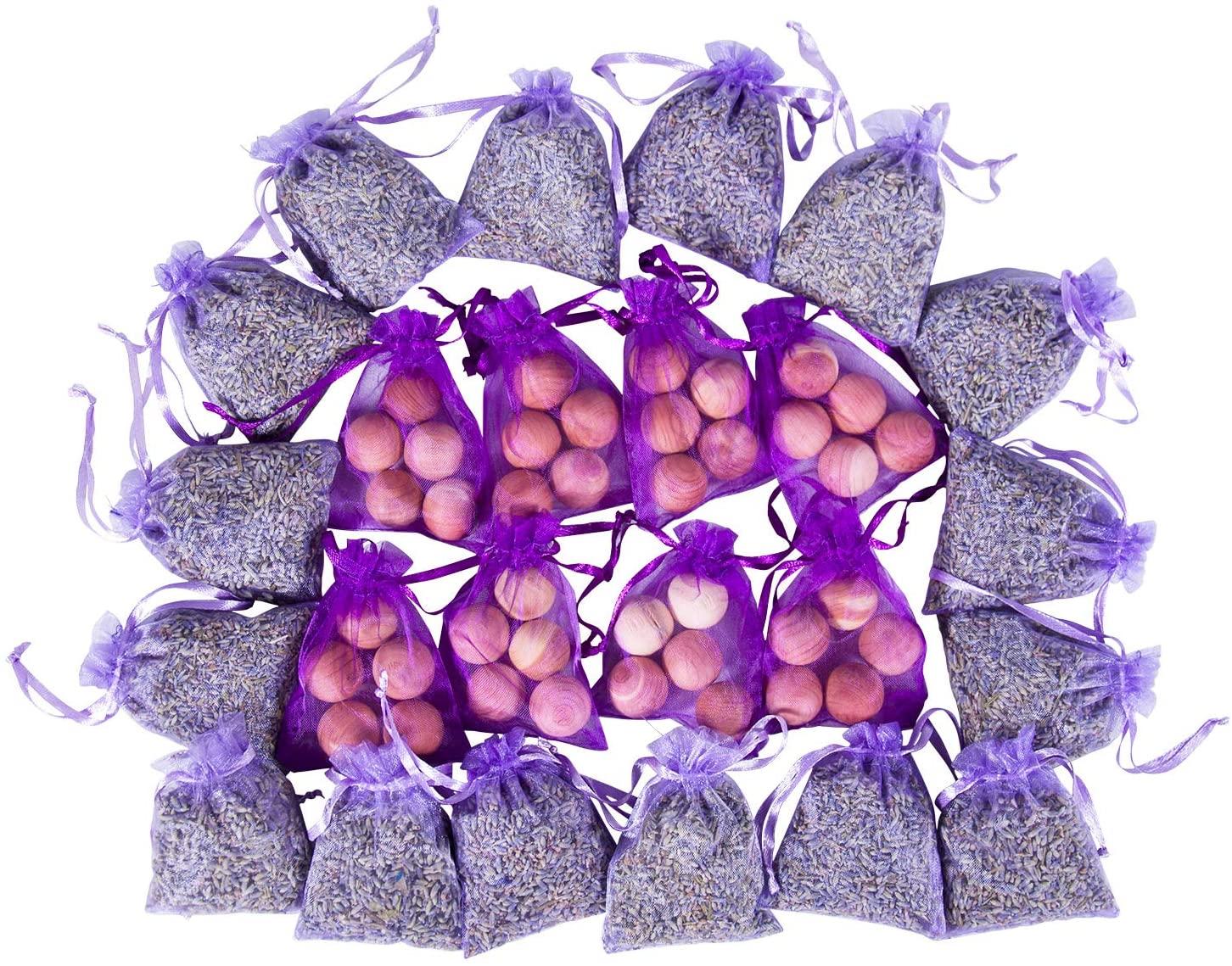 Pack of 24 Lavender Cedar Sachets Bag (16 Lavender Sachets, 8 Cedar Sachets) for Closet, Drawer, Dresser, Wardrobe and More