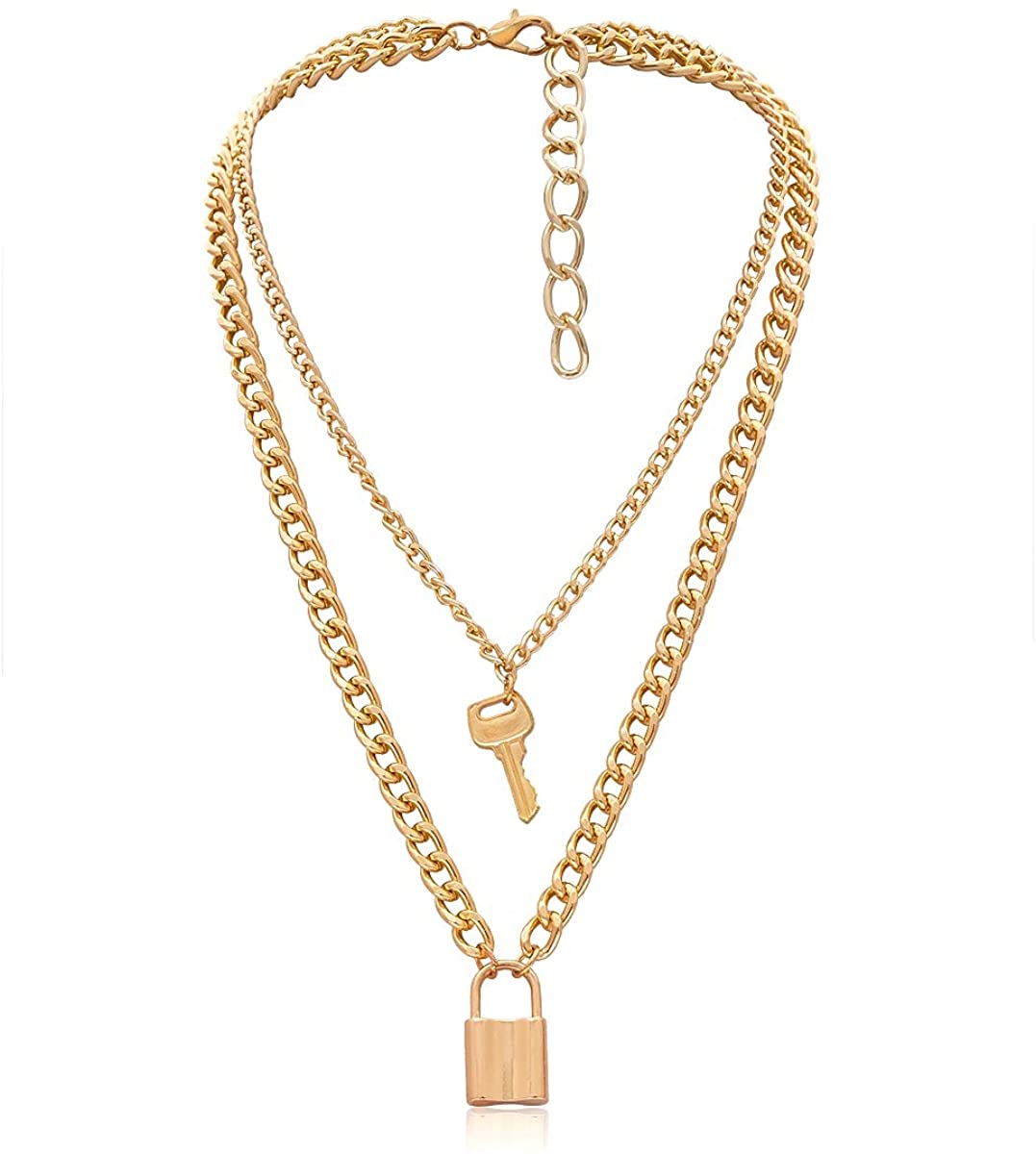 Jeweful Lock Necklace Y Pendant Simple Cute Necklaces Key Long Multilayer Chain Fashion Jewelry Women Girls Gift for Her