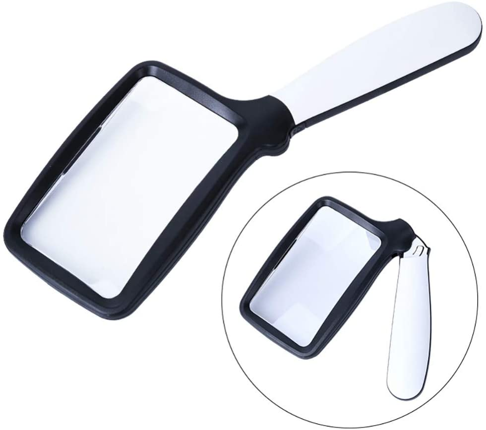 Large Handheld Page Magnifying Glass Folding Reading Magnifier with Light 2X with 5 LED Illuminated Lighted Jumbo Magnifier for Seniors Reading Small Prints, Stamps, Map, Macular Degeneration