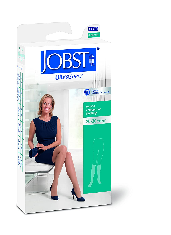 BSN Medical 121474 Jobst Ultra Sheer Compression Stocking, Knee High, 20-30 mmHg, Closed Toe, Medium, Classic Black
