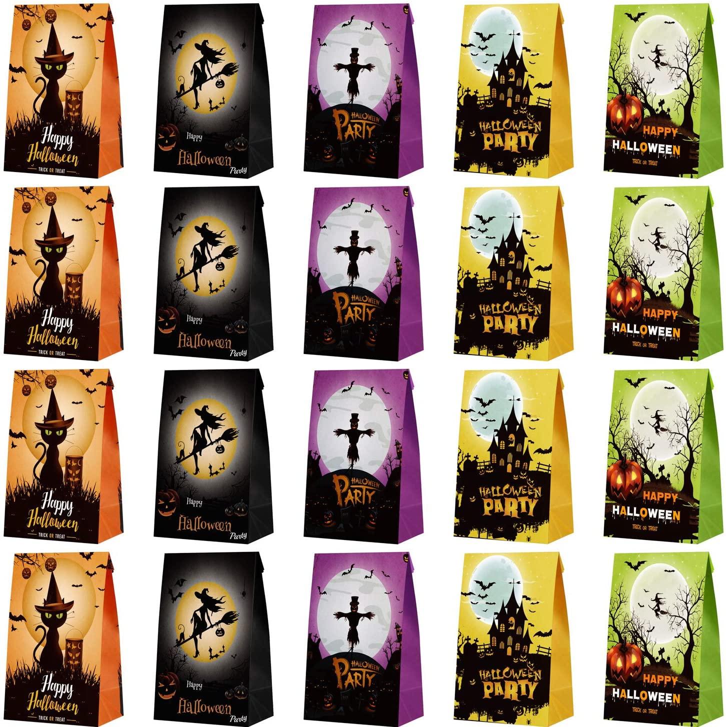 URATOT 60 Pieces Halloween Candy Paper Bags Pumpkin Paper Bags Trick or Treat Kraft Paper Bags for Halloween Parties