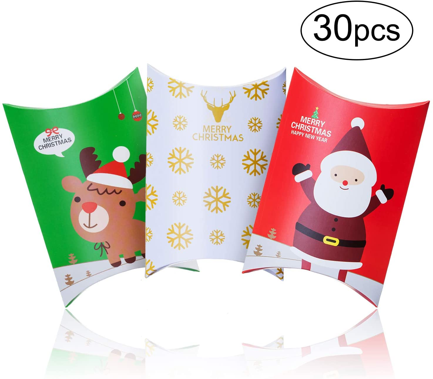 30pcs Christmas Candy Boxes Paper Favor Pillow Boxes Gift Treat Box for Xmas Christmas Party