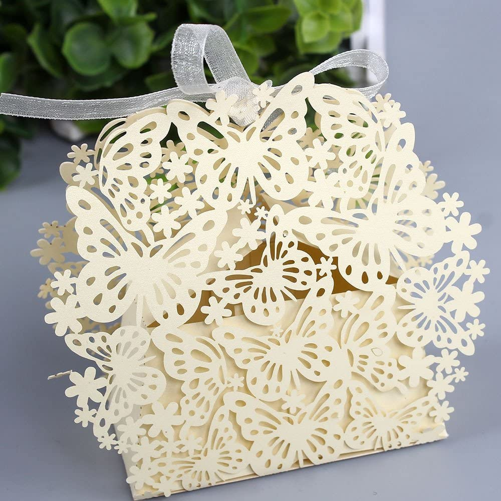 Sorive 50 Pack Laser Cut Butterfly Wedding Favor Box Birthday Shower Party Candy Boxes Bomboniere with Ribbons Bridal Shower Wedding Party Favors SORIVE0031 (Beige)