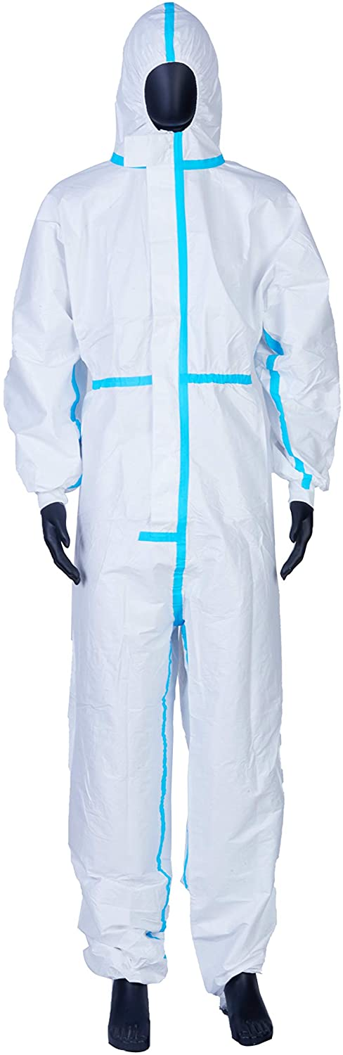 Coveralls for Men, Women, Protective Coverall Suit with Hood, Disposable Full Body Isolation Gown, Lightweight, Breathable & Durable (XXL-185)