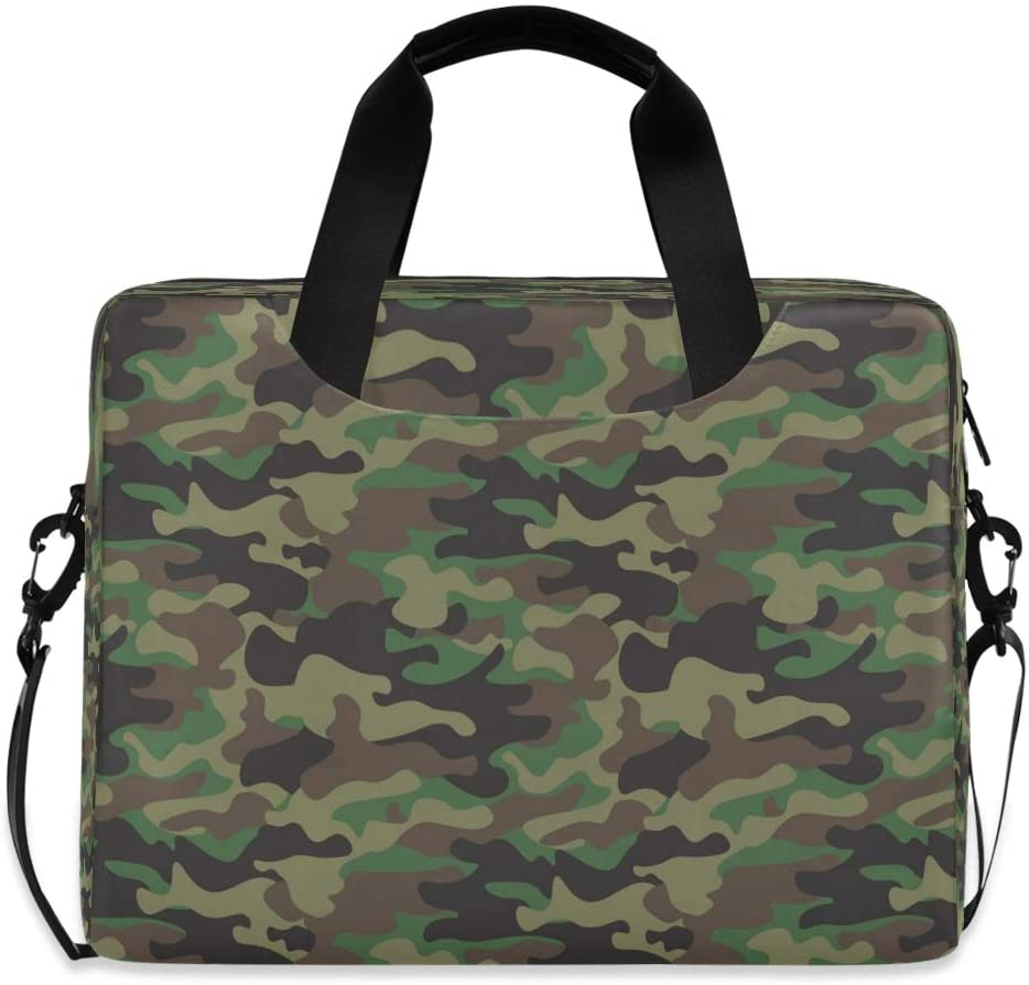 CCDMJ Laptop Case Army Camouflage Camo Pattern Laptops Sleeve Shoulder Messenger Bag Briefcase Notebook Computer Tablet Bags with Strap Handle for Women Man Boys Girls 16 Inch
