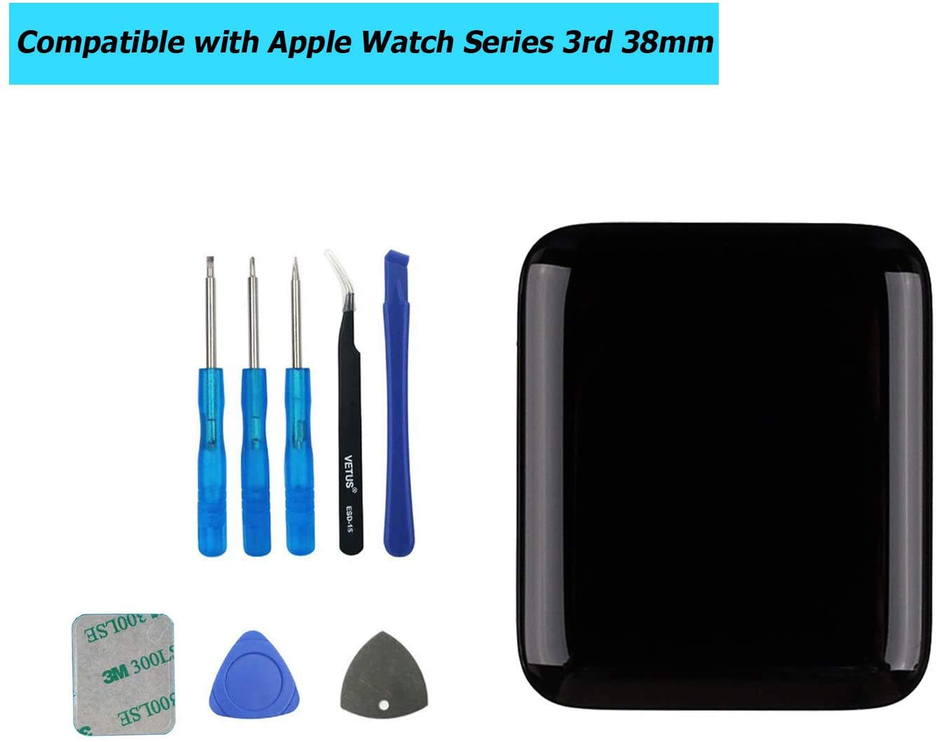 E-YIIVIIL Replacement Screen Compatible with Apple Watch Series 3rd 38mm GPS+Cellular Touch Screen Display LCD with Toolkit (3rd 38mm,S3 38mm)