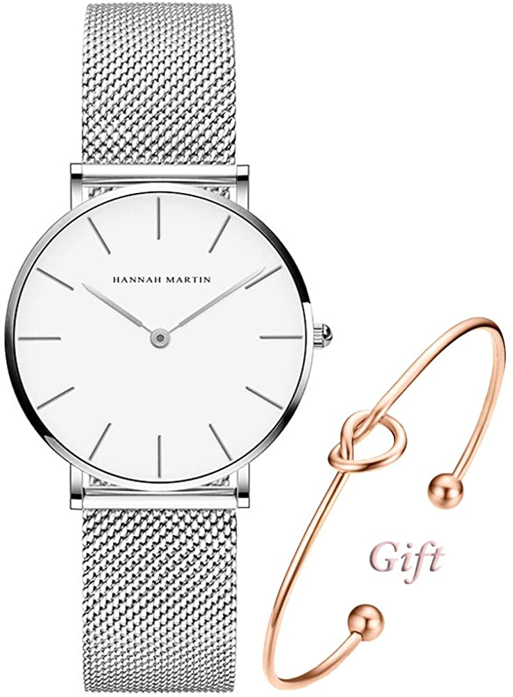 Women's Silver Watch Analog Quartz Stainless Steel Mesh Band Casual Fashion Ladies Wrist Watches with Love Knot Bracelet