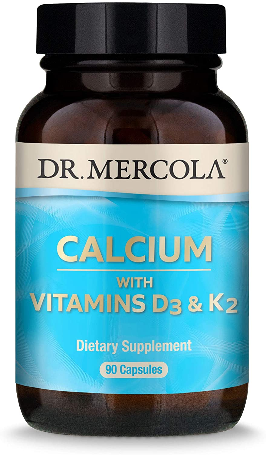 Dr. Mercola Calcium with Vitamins D3 & K2 Dietary Supplement, 90 Servings (90 Capsules), Supports Bone Health, Supports Cardiovascular Health, Non GMO, Soy Free, Gluten Free