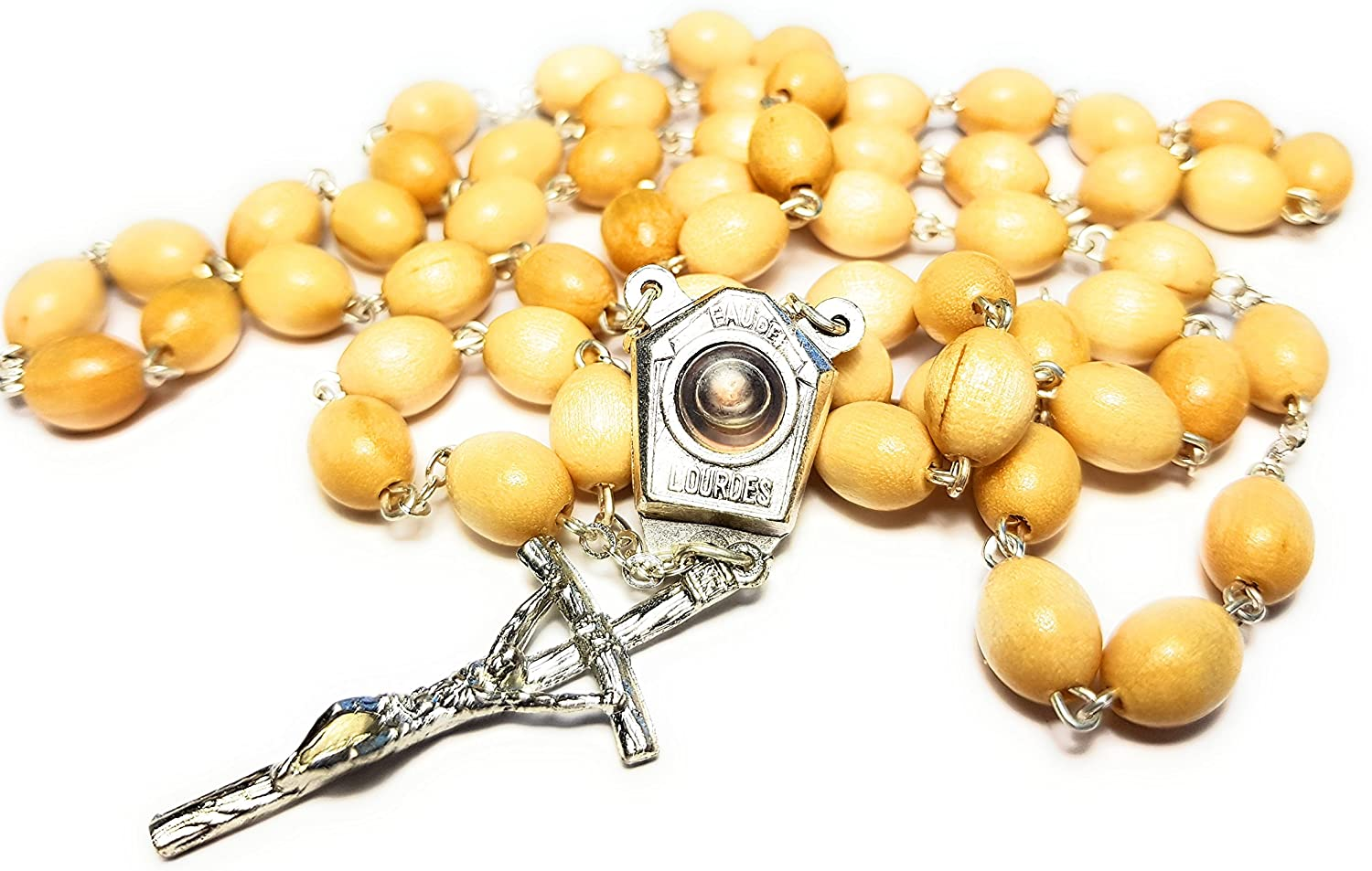 Genuine Virgin Mary Our Lady of Lourdes Rosary Holy Water from Lourdes Centerpiece EU Made Birchwood Beads: 3/8