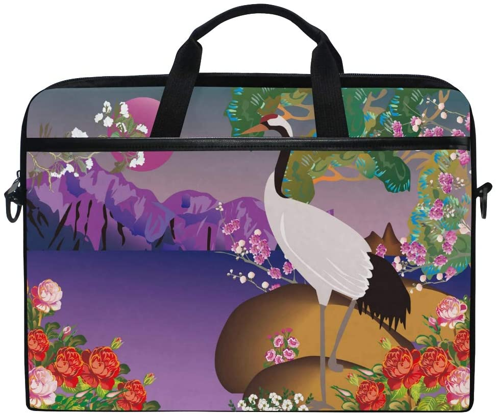 WXLIFE Japanese Crane Moon Flower 13 13.3 14 Inch Laptop Shoulder Messenger Bag Case Sleeve Briefcase with Handle Strap for Men Women Boys Girls