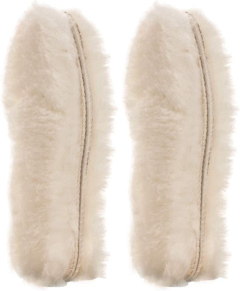 [2 Pair]Real Pure Sheepskin Luxury Insoles Sheepskin Lambswool Blended Shoe Insoles | Durable & Fluffy Perfect for Flat, Beige, [2-Pairs]US 7