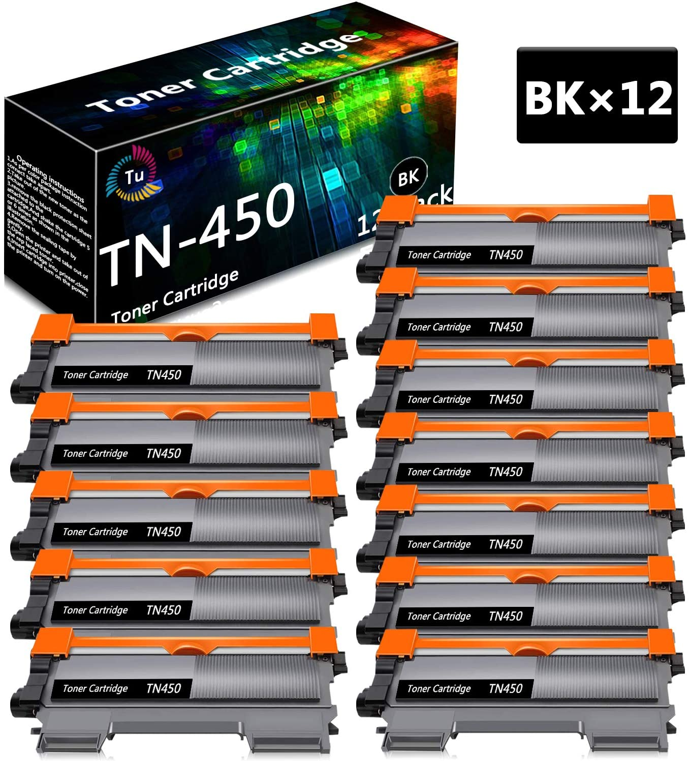 TN450 TN-450 Black 12 Pack Compatible Toner Cartridge Replacement for Brother DCP-7060D 7065D Intellifax 2840 2940 MFC-7240 7360N 7365DN 7460DN HL-2130 2220 2230 2240 Printer, Sold by TueInk
