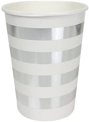 Just Artifacts Striped Party Paper Cups (24pc, Metallic Silver) - Paper Decorations for Birthday Parties, Weddings, Baby Showers, and Life Celebrations!