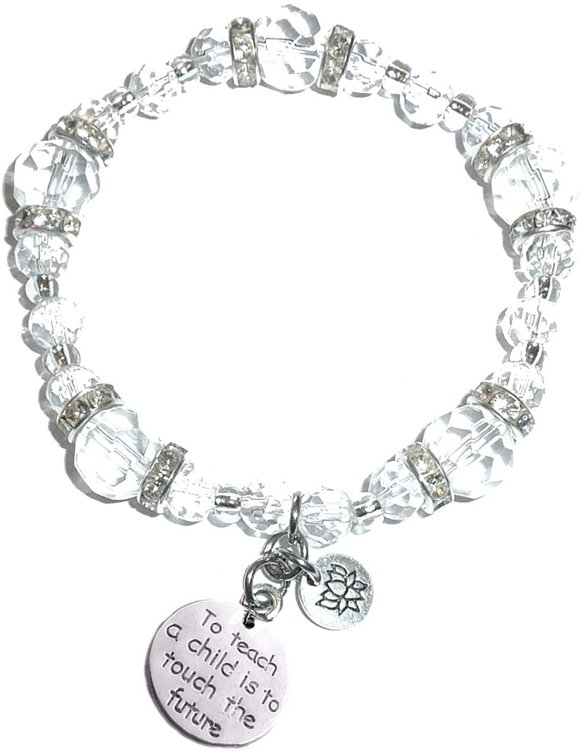 Hidden Hollow Beads Crystal Stretch Charm Bracelet, Women's Message Dangle, Comes Packaged In A Beautiful Gift Bag