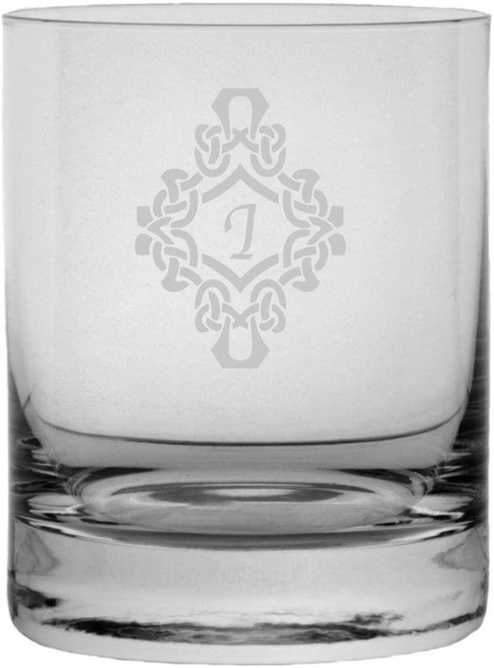 Decorated Etched Monogram 11oz StolzleNew York Crystal Rocks Glass (Letter I)