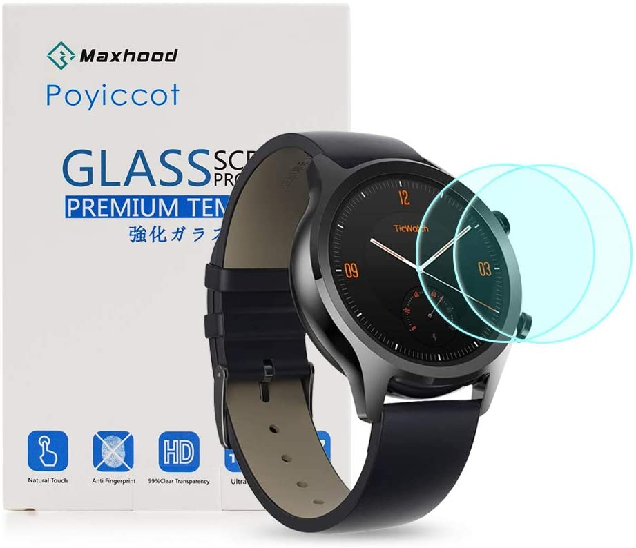 for Ticwatch C2 / Ticwatch E2/ S2 Screen Protector, Poyiccot (2-Pack) Ultra-Thin 9H Hardness Anti-Fingerprint Tempered Glass Screen Protector for Ticwatch C2 / E2 /S2