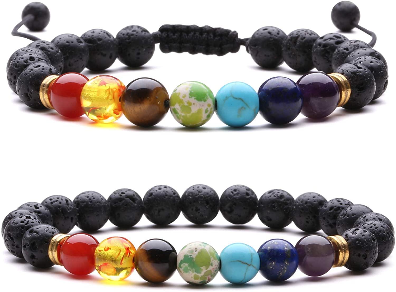 J.Fée Chakra Bracelet, Semi-Precious Gemstone Bracelet 8mm Beaded Stretch Bracelet Natural Stone Crystal Bracelet to for Women Men
