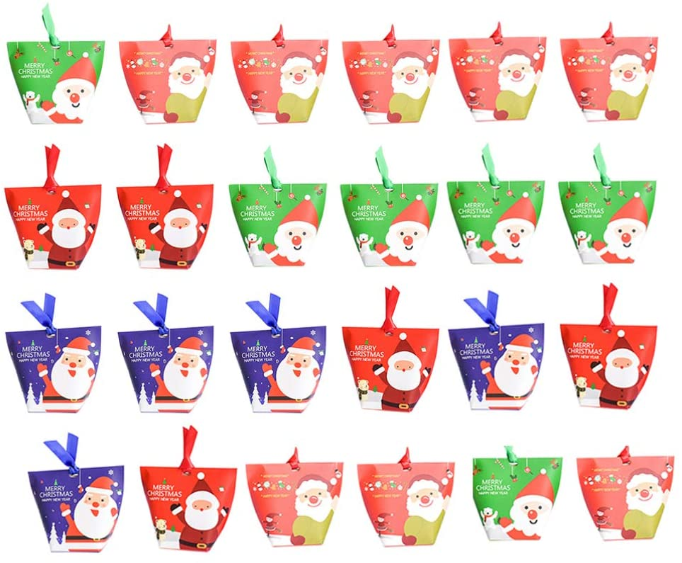 STOBOK Christmas Candy Treat Boxes with Ribbons Xmas Cookie Boxes for Christmas Party Favors,Pack of 36