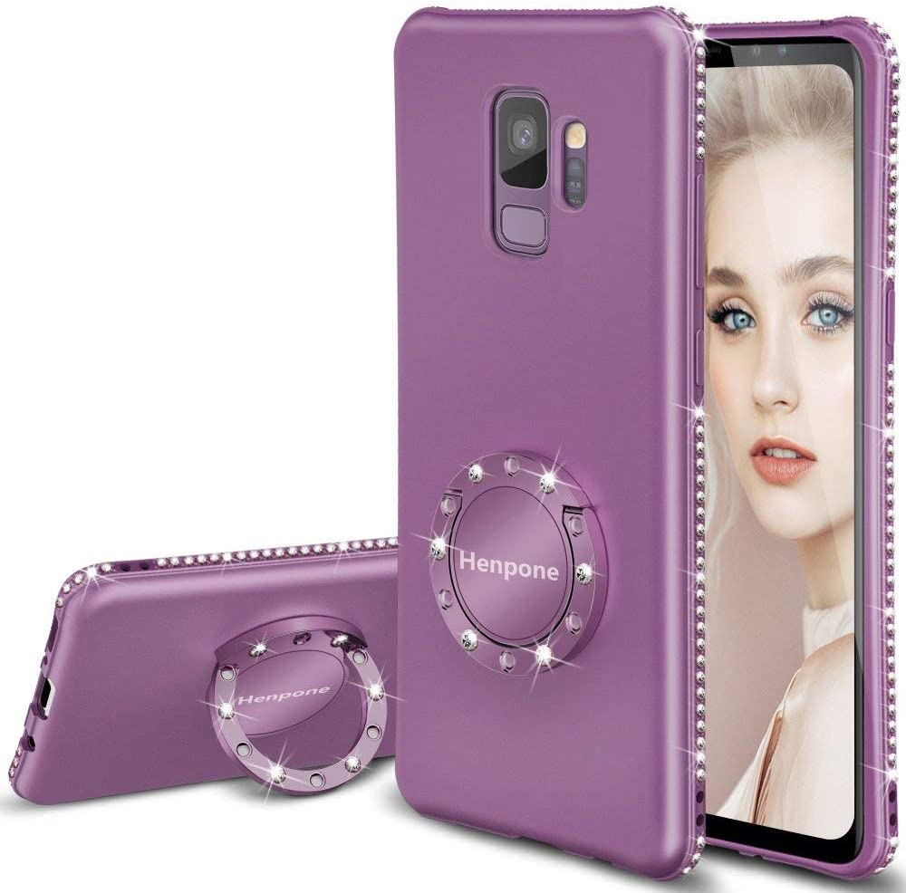 Galaxy S9 Case, Glitter Girly Women Girls Phone Cover with Kickstand Ring Stand Holder Slim Fit Luxury Diamond Sparkle Bling for Samsung Galaxy S9 - Lilac Purple